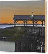 Fishing Pier At Dusk Wood Print
