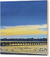 Fishing Pier At Sunset Wood Print