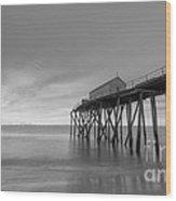 Fishing Pier Sunrise Bw 16x9 Wood Print