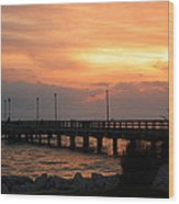 Fishing Pier Sunrise Wood Print