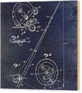 Fishing Reel Patent 1939 Blue Wood Print