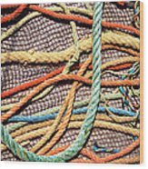 Fishing Ropes And Net Wood Print