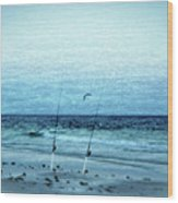 Fishing Wood Print by Sandy Keeton