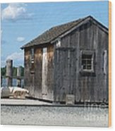 Fishing Shack On The Mystic River Wood Print