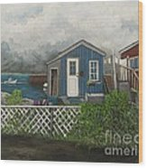 Fishing Shacks Alaska Wood Print by Reb Frost
