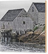 Fishing Sheds At Peggy's Cove Wood Print