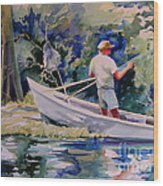 Fishing Spruce Creek Wood Print