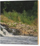 Fishing The Spillway Wood Print