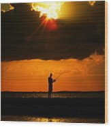Fishing The Sun Wood Print