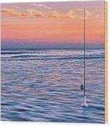 Fishing The Sunset Surf - Horizontal Version Wood Print