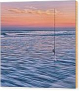 Fishing The Sunset Surf - Square Version Wood Print