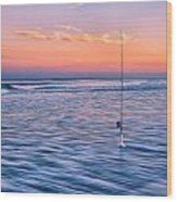 Fishing The Sunset Surf - Vertical Version Wood Print