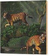 Fishing Tigers Wood Print
