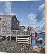 Fishing Town Wood Print