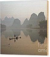 Fishing With Cormorant On Li River Wood Print