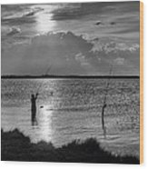 Fishing With Dad - Black And White - Merritt Island Wood Print