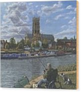 Fishing With Oscar - Doncaster Minster Wood Print