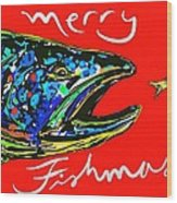 Fishmas Trout Wood Print