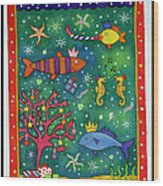 Fishy Christmas, 1997 Wc And Pastel On Paper Wood Print