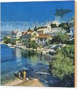 Fiskardo Beach In Kefallonia Island Wood Print