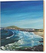 Fistral Bay Cornwall Wood Print