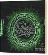 Fitz's In Green Neon  Wood Print