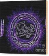 Fitz's In Purple Neon Wood Print