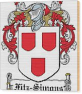 Fitzsimons Coat Of Arms Irish Wood Print