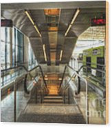 Fiumicino Airport Escalator Wood Print