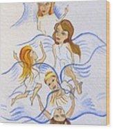 Five Angels Hanging Around  Wood Print