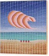 Five Beach Umbrellas Wood Print