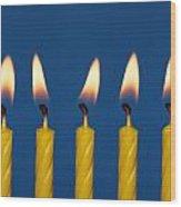 Five Candles Burning Wood Print
