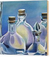 Five Clear Bottles Wood Print