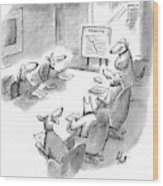 Five Dogs Sit Around An Office Meeting Table Wood Print