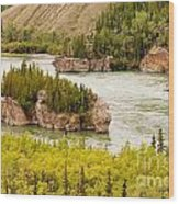 Five Finger Rapids Of Yukon River Yukon T Canada Wood Print