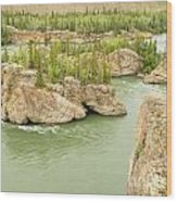 Five Finger Rapids Rocks Yukon River Yt Canada Wood Print