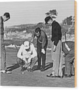 Five Golfers Looking At A Ball Wood Print