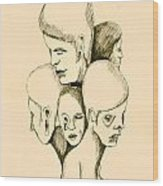Five Headed Figure Wood Print