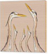 Five Herons Wood Print