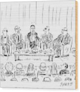 Five Men Sit On A Stage In Front Of An Audience Wood Print