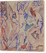 Five Nudes Study Wood Print