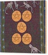 Five Of Pentacles Wood Print