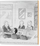 Five People Sit Around A Conference Table Wood Print