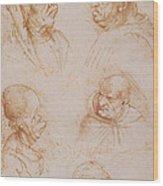 Five Studies Of Grotesque Faces Wood Print by Leonardo da Vinci