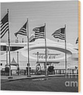 Five Us Flags Flying Proudly In Front Of The Megayacht Seafair - Miami - Florida - Black And White Wood Print by Ian Monk