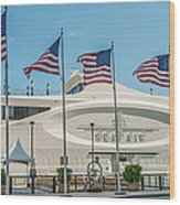 Five Us Flags Flying Proudly In Front Of The Megayacht Seafair - Miami - Florida - Panoramic Wood Print