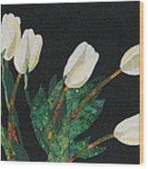 Five White Tulips  Wood Print by Lynda K Boardman