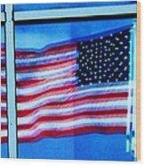 Flag Abstract Reflection Wood Print