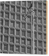 Flag And Windows In Black And White Wood Print