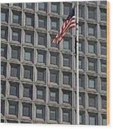 Flag And Windows Wood Print